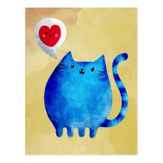 Love of The Blue Kitty Cat Postcard