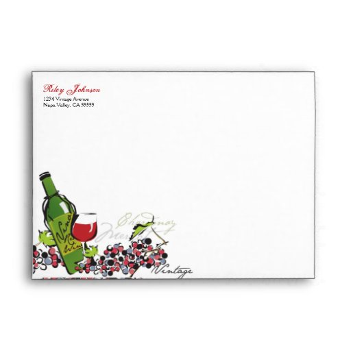 Love of Wine and Grape Envelope