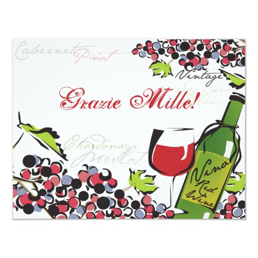 Love of Wine and Grape Note Card