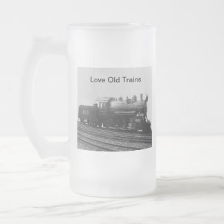 Love Old Trains Vintage Steam Engine Train Frosted Glass Beer Mug