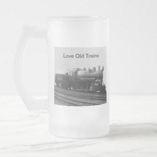 Love Old Trains Vintage Steam Engine Train Frosted Glass Beer Mug