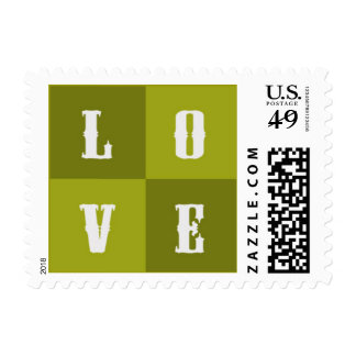 LOVE - olive green & western Postage Stamp
