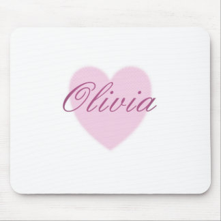 Love Olivia - pink sweetheart heart Mouse Pad
