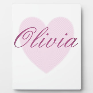 Love Olivia - pink sweetheart heart Photo Plaque
