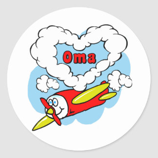 Love Oma Kids Airplane Classic Round Sticker