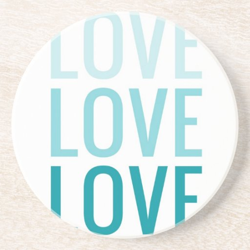 LOVE Ombre Turquoise Typography Beverage Coaster