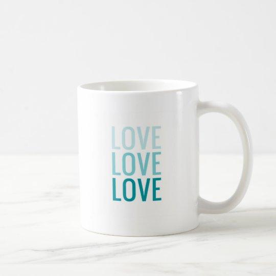LOVE Ombre Turquoise Typography Coffee Mug
