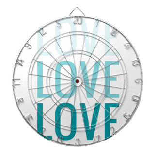 LOVE Ombre Turquoise Typography Dartboards