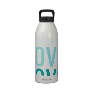 LOVE Ombre Turquoise Typography Drinking Bottles