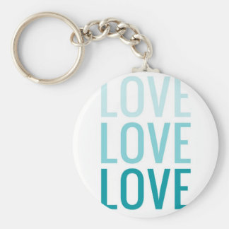 LOVE Ombre Turquoise Typography Keychains