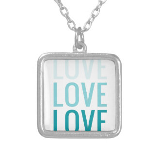 LOVE Ombre Turquoise Typography Pendant