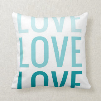 LOVE Ombre Turquoise Typography Pillow