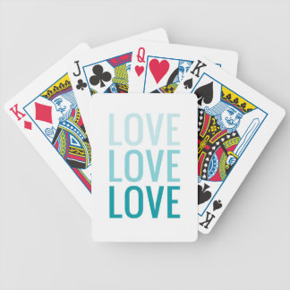 LOVE Ombre Turquoise Typography Poker Deck