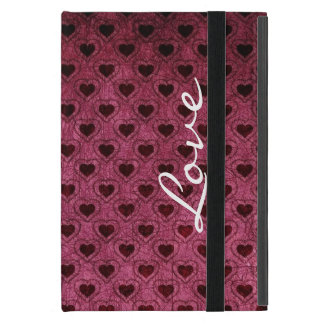Love on a Dark Hearts Grunge Pattern iPad Mini Case