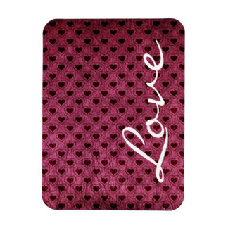 Love on a Dark Hearts Grunge Pattern Magnet