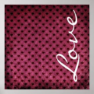 Love on a Dark Hearts Grunge Pattern Poster