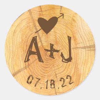 Love on a Log | Custom Monograms Wedding Party Classic Round Sticker