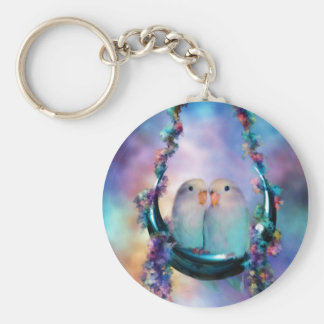 Love On A Moon Swing Art Keychain