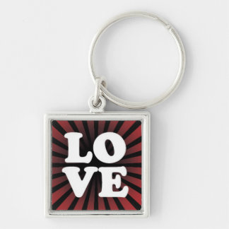 LOVE on a Red and Black Starburst Keychain