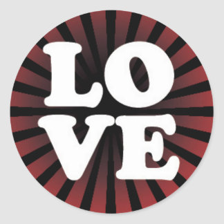 LOVE on a Red and Black Starburst Classic Round Sticker