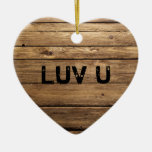 Love on a Wooden Heart Christmas Ornaments