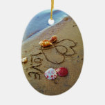 Love on beach w/  hearts christmas tree ornament
