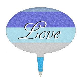 LOVE on Blue Cake Topper