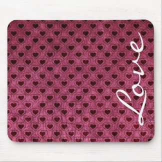 Love on Dark Hearts Grunge Pattern Mouse Pad