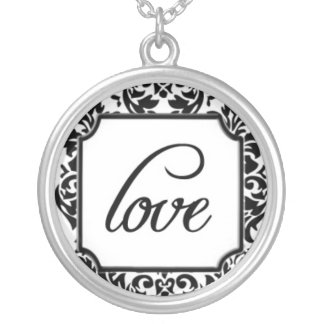 Love on Elegant Black and White Damask Pattern Round Pendant Necklace