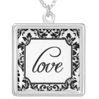 Love on Elegant Black and White Damask Pattern Silver Plated Necklace