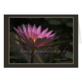 love on fire greeting card