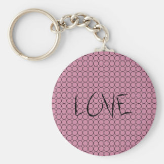Love On Pink Background With Linked Rings Basic Round Button Keychain