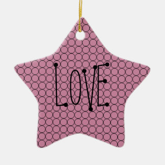 Love On Pink Background With Linked Rings Ceramic Ornament