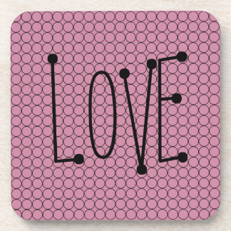 Love On Pink Background With Linked Rings Coaster