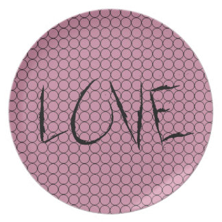 Love On Pink Background With Linked Rings Melamine Plate