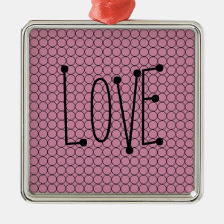 Love On Pink Background With Linked Rings Metal Ornament