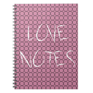 Love On Pink Background With Linked Rings Spiral Notebook
