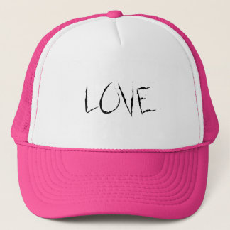 Love On Pink Background With Linked Rings Trucker Hat