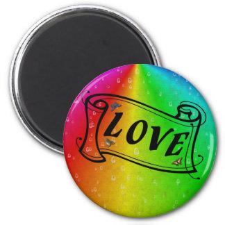 Love on Rainbow en elefante skin Leather Optic Imán Redondo 5 Cm