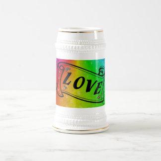 Love on Rainbow en elefante skin Leather Optic Tazas De Café
