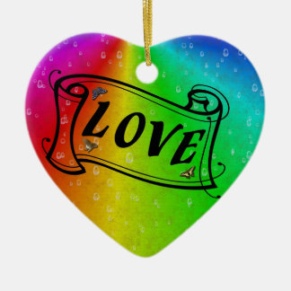Love on Rainbow in elephant Skin Leather Optic Ceramic Ornament