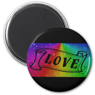 Love on Rainbow in elephant Skin Leather Optic Magnet