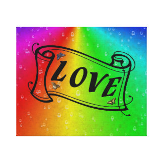 Love on Rainbow in Elephant Skin Leather Optik Canvas Print