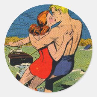 Love on Skis Classic Round Sticker