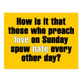 Love on Sunday, Hate on Monday Postcard