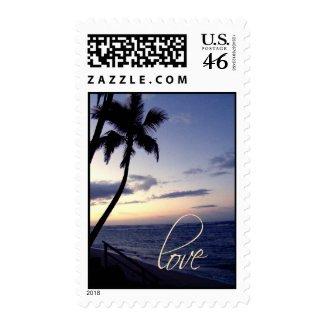 Love on sunset beach stamp