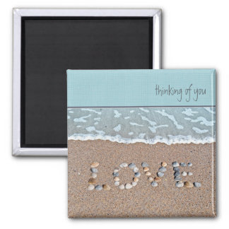 Love on the beach 2 inch square magnet