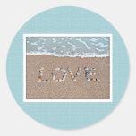 Love on the beach classic round sticker