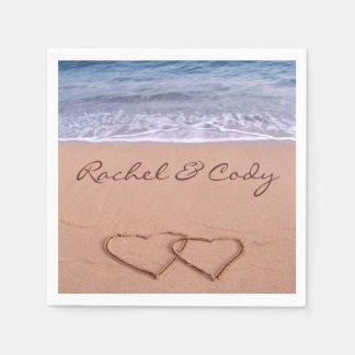 Love on the beach paper napkin