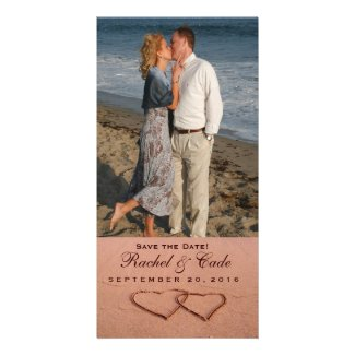 Love on the beach photo template photo greeting card